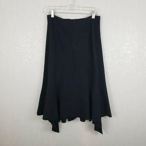 Anthro Elevenses black midi asymmetric skirt sz 6